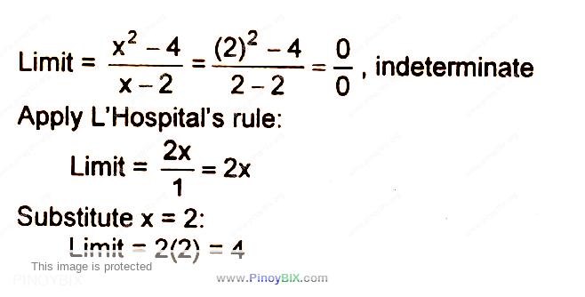 Solution: Evaluate: M = lim┬(x→2)〖(x^2- 4)/(x-2)〗