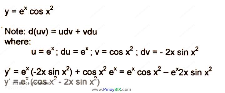 Solution: Differentiate y = e^x  cos〖x^2 〗