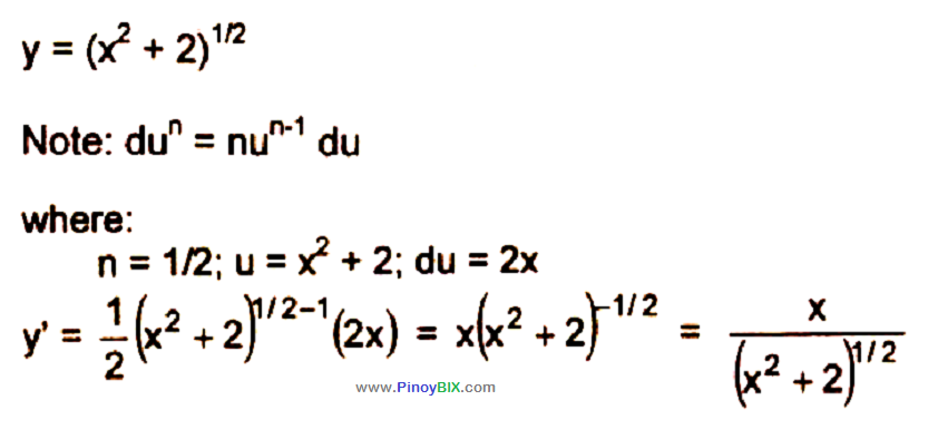Solution: Differentiate (x^2 + 2)^(1/2)